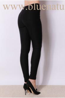 Magasított derekú elöl cipzáros nadrág (elasztikus) - MARA - Fekete