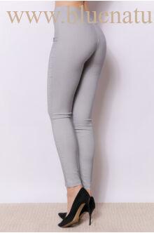 Magasított derekú elöl cipzáros nadrág (elasztikus) - MARA - Szürke