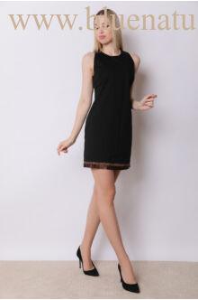 Pliszével díszített ruha - MAURA - Fekete