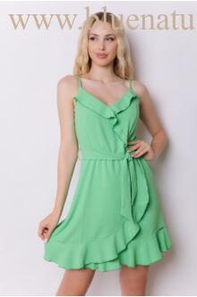 Spagetti pántos fodros ruha - ROSE - Zöld