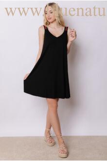 A-vonalú gumipántos ruha - Fekete