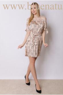 Derekán megkötős ruha - SOFI - CC mintás/bézs
