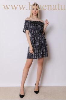 Derekán megkötős ruha - SOFI - CC mintás/fekete