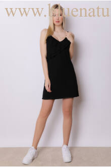 Elől fodros ruha - Fekete