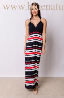 Fémdíszes maxi ruha - ADRIA - Csíkos (piros/fehér)