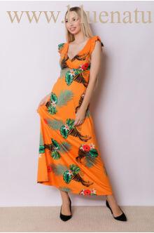 Fodorral díszített átlapolt maxi ruha - ANNA - Narancs mintás
