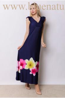 Fodorral díszített átlapolt maxi ruha - ANNA - Sötétkék/virágos