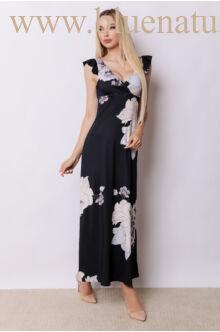 Fodorral díszített átlapolt maxi ruha - ANNA Lila virágmintás