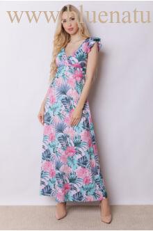 Fodorral díszített átlapolt maxi ruha - ANNA Virágmintás