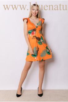 Fodorral díszített átlapolt ruha - ANNA - Narancs mintás