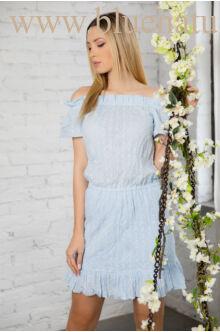Gumis vállú hímzett ruha - DORIS - Világos kék