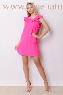 Hátán V-kivágással masnival dísszített ruha - SÁBA - Pink