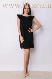 Hátán V-kivágással masnival dísszített ruha SÁBA - Fekete