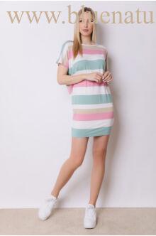Hátul keresztpántos ruha - DÖNIZ - Zöld/Pink csíkos