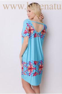 Hátul pántos zsebes ruha - DÓRA - Kék/virágmintás