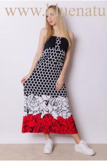 Hólos mintás maxi ruha - piros/fekete mintás