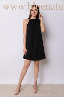 Nyakban megkötős A-vonalú bő ruha GLORIA - Fekete