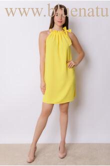 Nyakban megkötős A-vonalú bő ruha GLORIA - Sárga