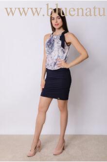 Nyakban megkötős kombinált ruha - KIMI - rózsaszín virágmintás