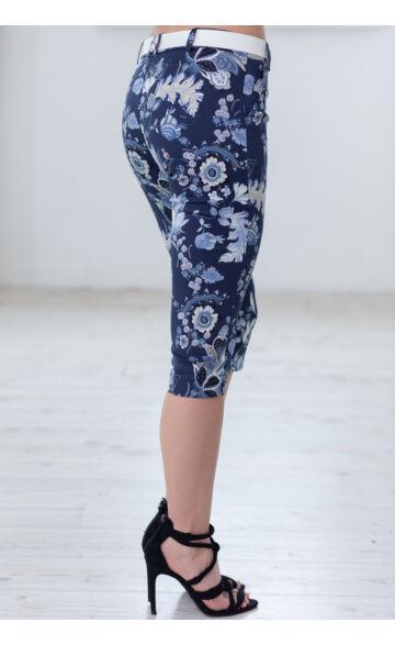 Térd Virágmintás Nadrág (elasztikus) ALINA - sötét kék