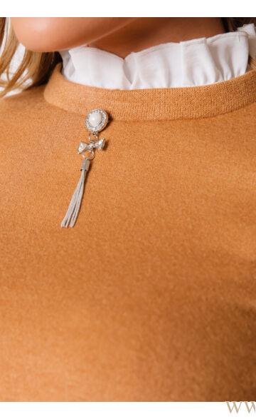 Fodros nyakú kötött felső - HELLA - Fahéj