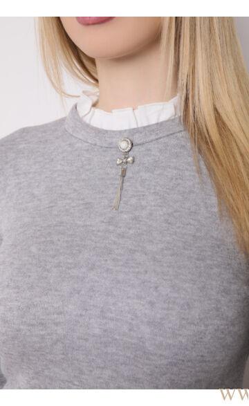 Fodros nyakú kötött felső - HELLA - Szürke