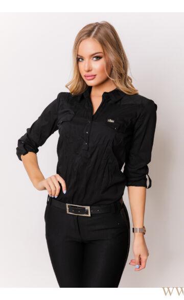 Három patentos ing - Fekete