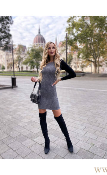 Bőrbetétes térdig érő ruha - LINDA - szürke/fekete