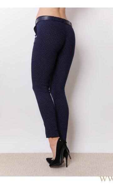 Öves bengalin nadrág (elasztikus) - ALINA - Sötétkék/pöttyös