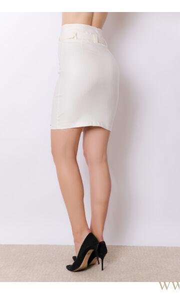 Magasított derekú bőrhatású térdszoknya (elasztikus) - Edina - Ekrü