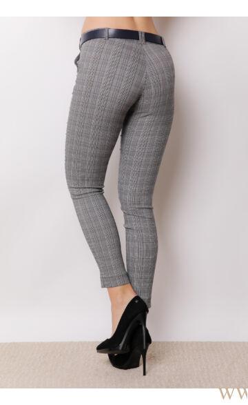 Öves bengalin nadrág (elasztikus) - ALINA - Szürke kockás