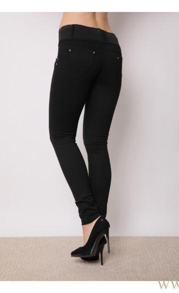 Széles derékpántú puntó nadrág (elasztikus) - Fekete
