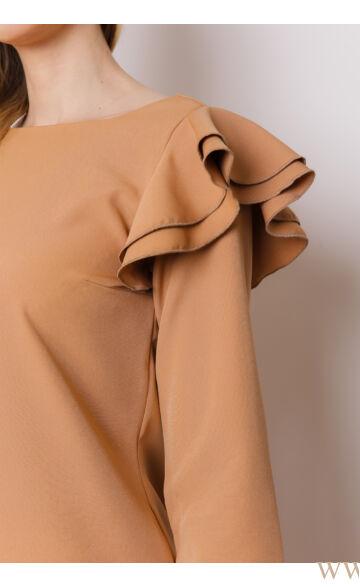 A-vonalú fodros ujjú ruha (szövet)  - OLGA - Camel