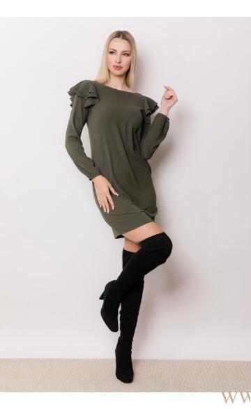 A-vonalú fodros ujjú ruha - OLGA - Khaki