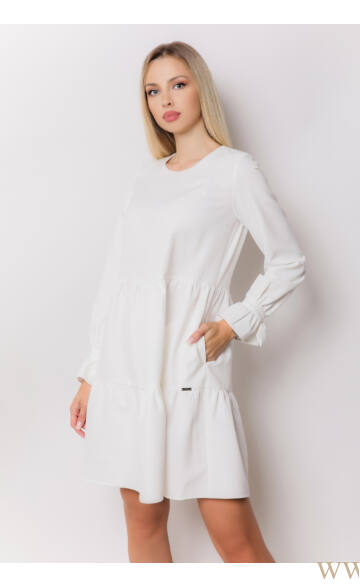 Fodros bő ruha - NARINA - Fehér