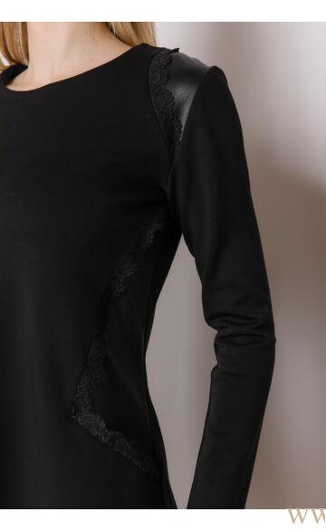 Csipkével díszített A-vonalú ruha - HENI - Fekete