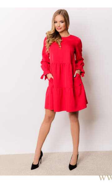 Fodros bő ruha (szövet) - NARINA - Piros