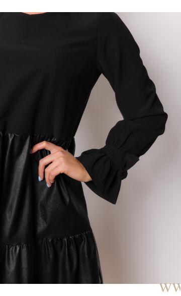 Fodros bőrrel kombinált bő ruha  - NARINA - Feketel/fekete bőr