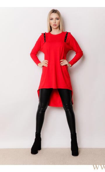 Hátul hosszított gyöngyös vállú ruha - NAYA - Piros