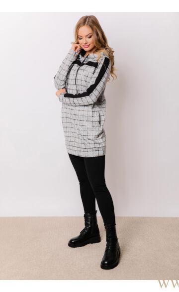 Kapucnis oldalt zsebes sportos ruha - ELMA - Kockás/fekete