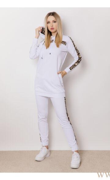 Kapucnis oldalt zsebes sportos szett - ELMA - Ocelot/fehér