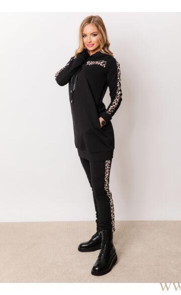 Kapucnis oldalt zsebes sportos szett - ELMA - Ocelot/fekete