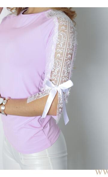 Csipkével és masnival díszített felső - POLETT - Orgona lila