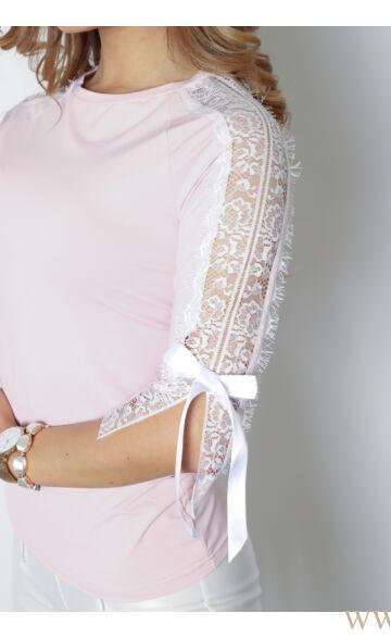 Csipkével és masnival díszített felső - POLETT - Rózsaszín