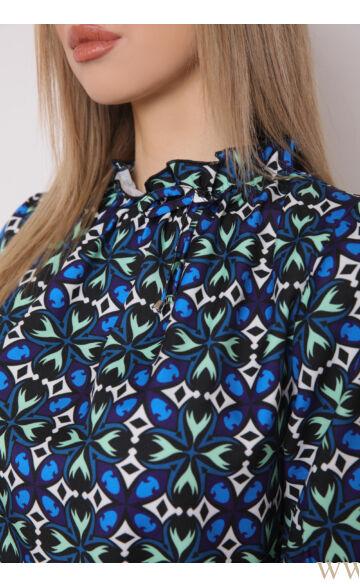 Húzott nyakú 3/4-es ujjú felső - TERESA - Kék/zöld mintás
