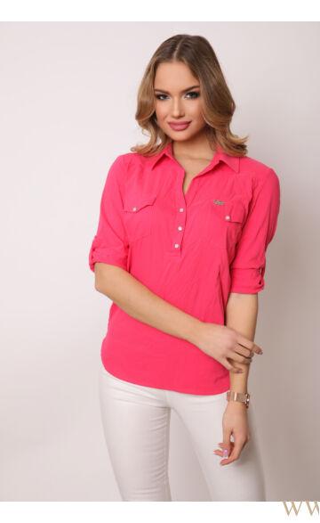 Három patentos ing 3/4-es - Pink