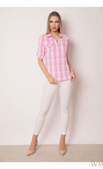 Három patentos ing 3/4-es - Rózsaszín kockás