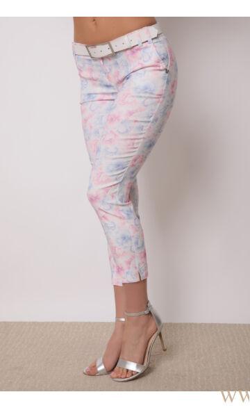 Bengalin 7/8-os öves nadrág (elasztikus) - ALINA - Kék/rózsaszín virágmintás