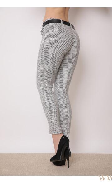 Bengalin Nadrág öves (elasztikus) ALINA - Fehér/fekete kockás