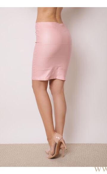 Bőrhatású térdszoknya - KENT - Rózsaszín